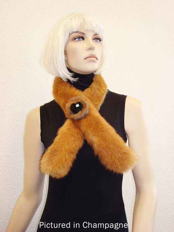 761f2d6dc4a Champagne Possum Fur Roll Collar with Rose