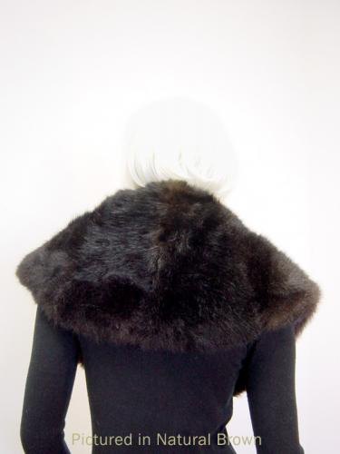 Natural Brown Possum Fur Greta Garbo Wrap - Back View