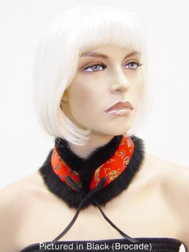 Black Reversible Possum Fur Mandarin Collar