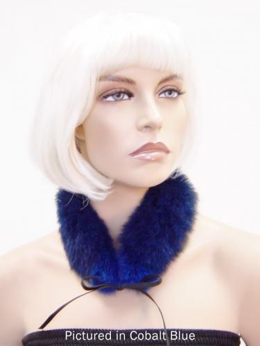 Cobalt Blue Reversible Possum Fur Mandarin Collar