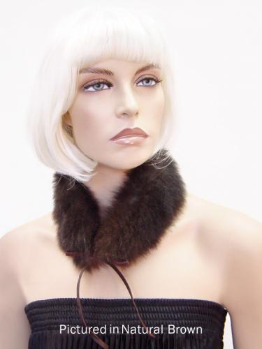 Natural Brown Reversible Possum Fur Mandarin Collar