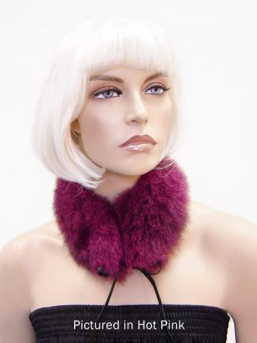 Hot Pink Reversible Possum Fur Mandarin Collar