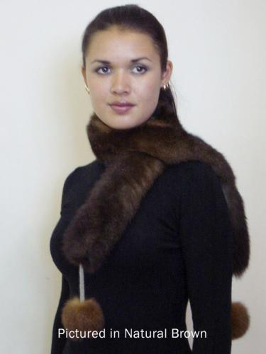 Natural Brown Possum Fur Pompom Scarf