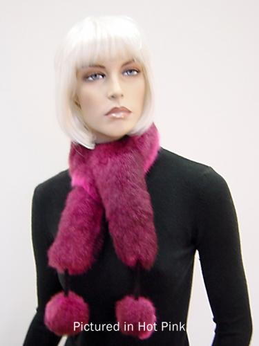 Hot Pink Possum Fur Pompom Scarf