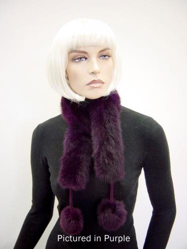 Purple Possum Fur Pompom Scarf