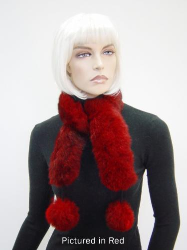 Red Possum Fur Pompom Scarf