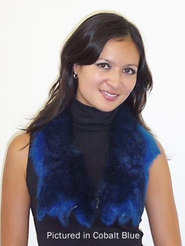Cobalt Blue Possum Fur Raw Edge Collar