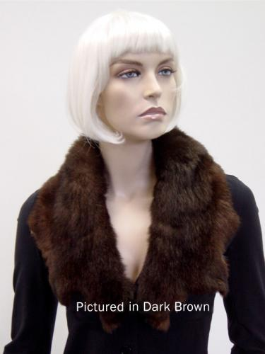 Dark Brown Possum Fur Raw Edge Collar