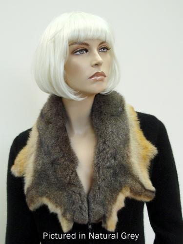Natural Grey Possum Fur Raw Edge Collar