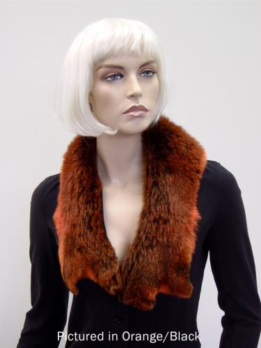Orange/Black Possum Fur Raw Edge Collar