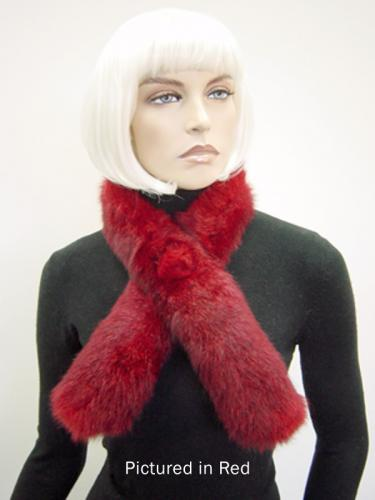 Red Possum Fur Roll Collar with Button