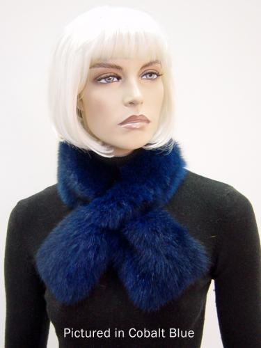 Cobalt Blue Possum Fur Scarf Collar