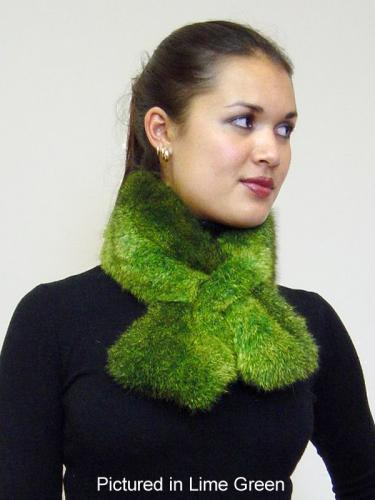 Lime Green Possum Fur Scarf Collar