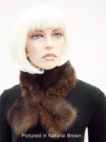 Natural Brown Possum Fur Scarf Collar