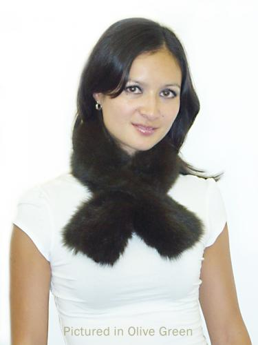 Olive Green Possum Fur Scarf Collar