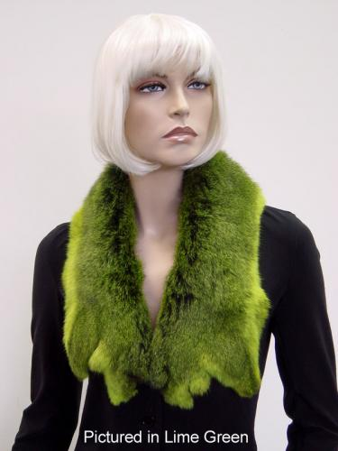 Lime Green Possum Fur Raw Edge Collar