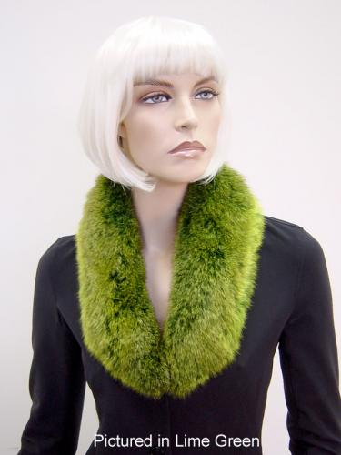 Lime Green Possum Fur Shawl Collar