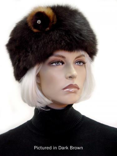 Dark Brown Possum Fur Cossack Hat with Rose