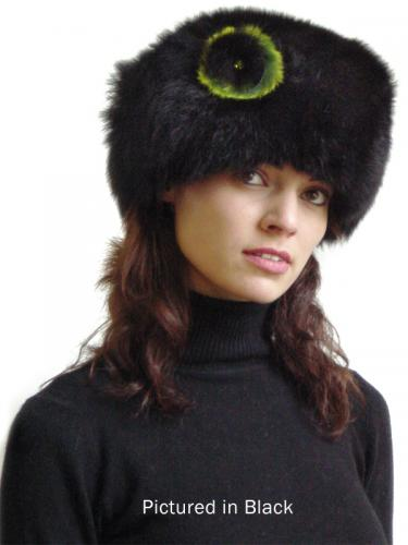Black Possum Fur Cossack Hat with Rose