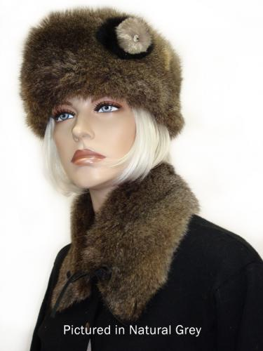 Natural Grey Possum Fur Cossack Hat with Rose