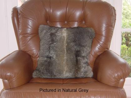 Natural Grey Possum Fur Cushion Covers Pair
