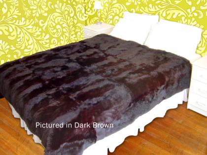 Dark Brown Possum Fur Full Bed Throw