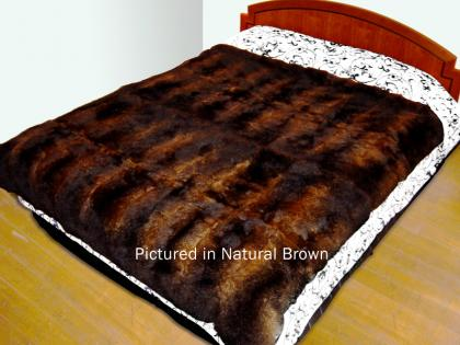 Natural Brown Possum Fur Full Bed Throw