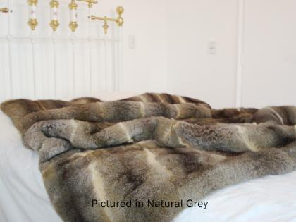 Natural Grey Possum Fur Full Bed Throw