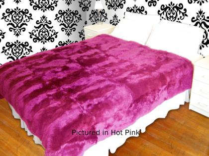 Pink Possum Fur Full Bed Throw