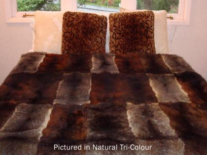 Tri Colour Possum Fur Full Bed Throw