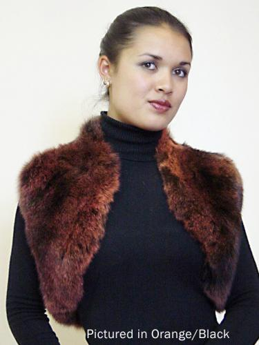 Orange/Black Possum Fur Bolero Vest