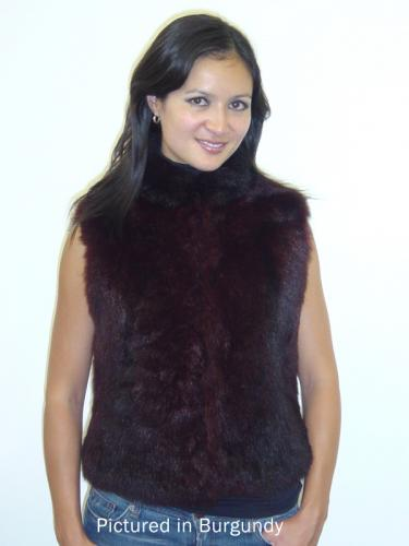 Burgundy Possum Fur Classic Vest