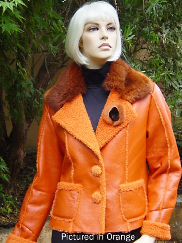Orange Baby Lamb Shearling Manhattan Jacket
