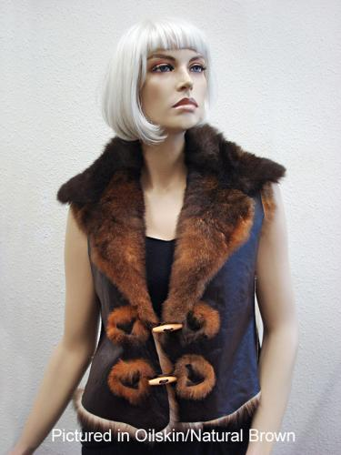 Oilskin/Natural Brown Possum Fur Raw Edge Vest