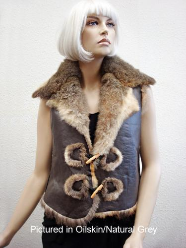 Oilskin/Natural Grey Possum Fur Raw Edge Vest