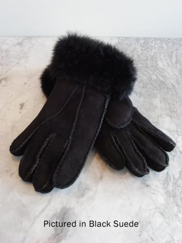 Black Possum Fur Trimmed Gloves