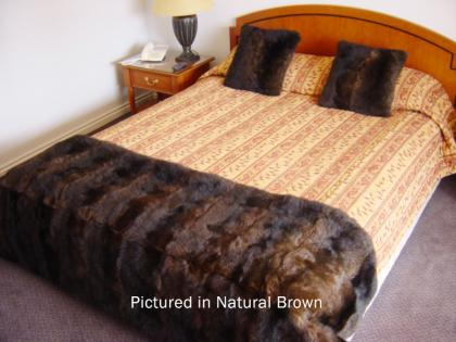 Natural Brown Possum Fur Half Bed Throw
