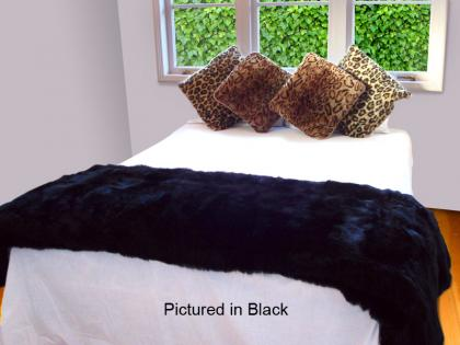 Black Possum Fur Half Bed Throw