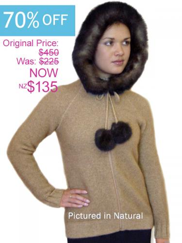 Natural Possum Merino Knitwear Igloo Jacket with Hood