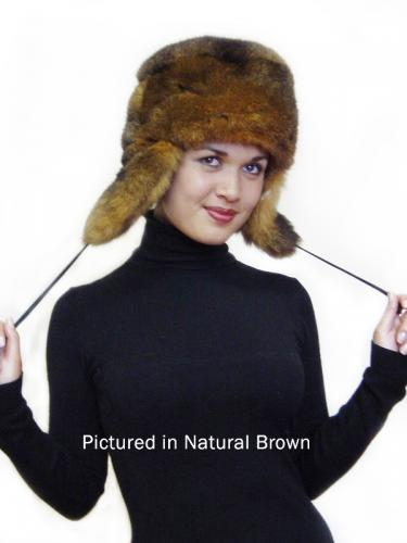 Natural Brown Possum Fur KGB Russian Hat