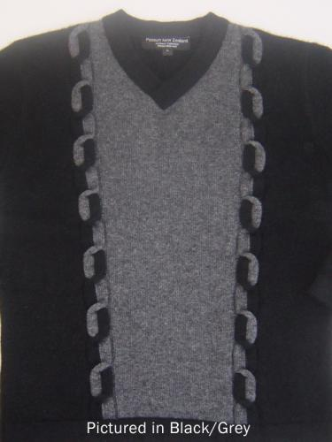 Black/Grey Possum Merino Kent Sweater