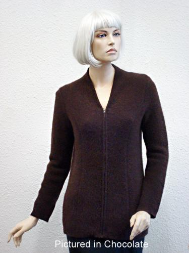 Chocolate Possum Merino Carolina Jacket (less fur)