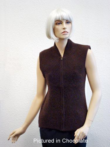 Chocolate Possum Merino Chelsea Vest (less fur)