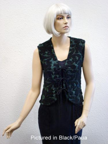 Black/Paua Possum Merino Glitteratti Vest (less fur)
