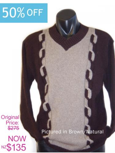 Brown/Natural Possum Merino Kent Sweater On Sale