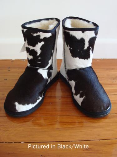 Black/White Cowskin Moomoo Yeti Short Boot