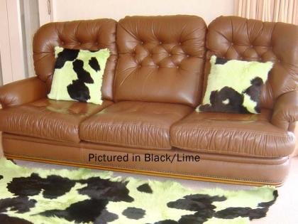Black & Green Moomoo Cowskin Cushion Cover