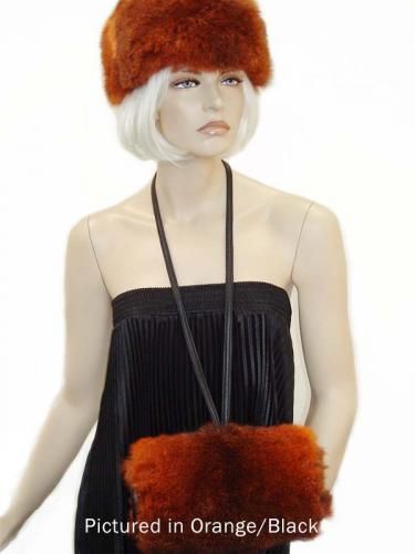 Orange/Black Possum Fur Muff