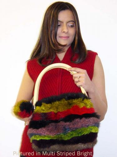 Possum Fur Pompom Striped Bag