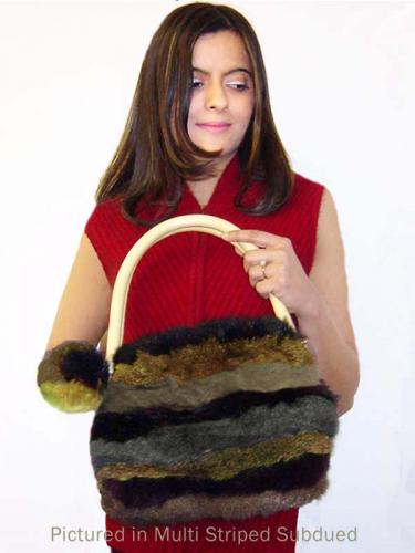 Subdued Possum Fur Pompom Striped Bag